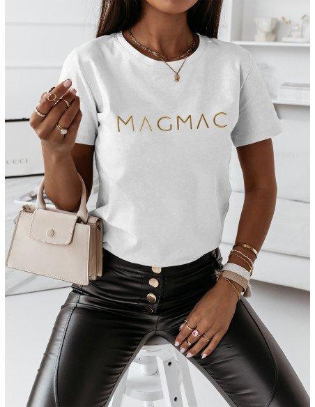 T-shirt z haftowanym napisem MOYRA - biała