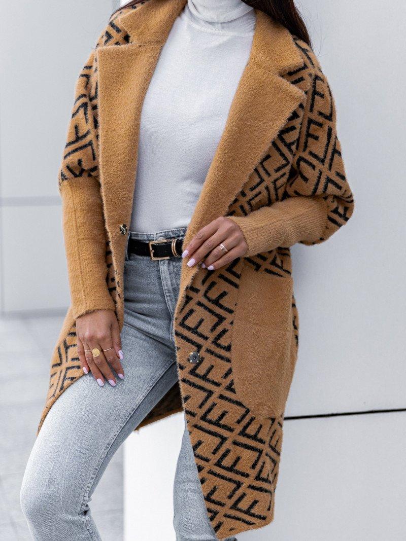 Długi oversizowy płaszcz alpaka...