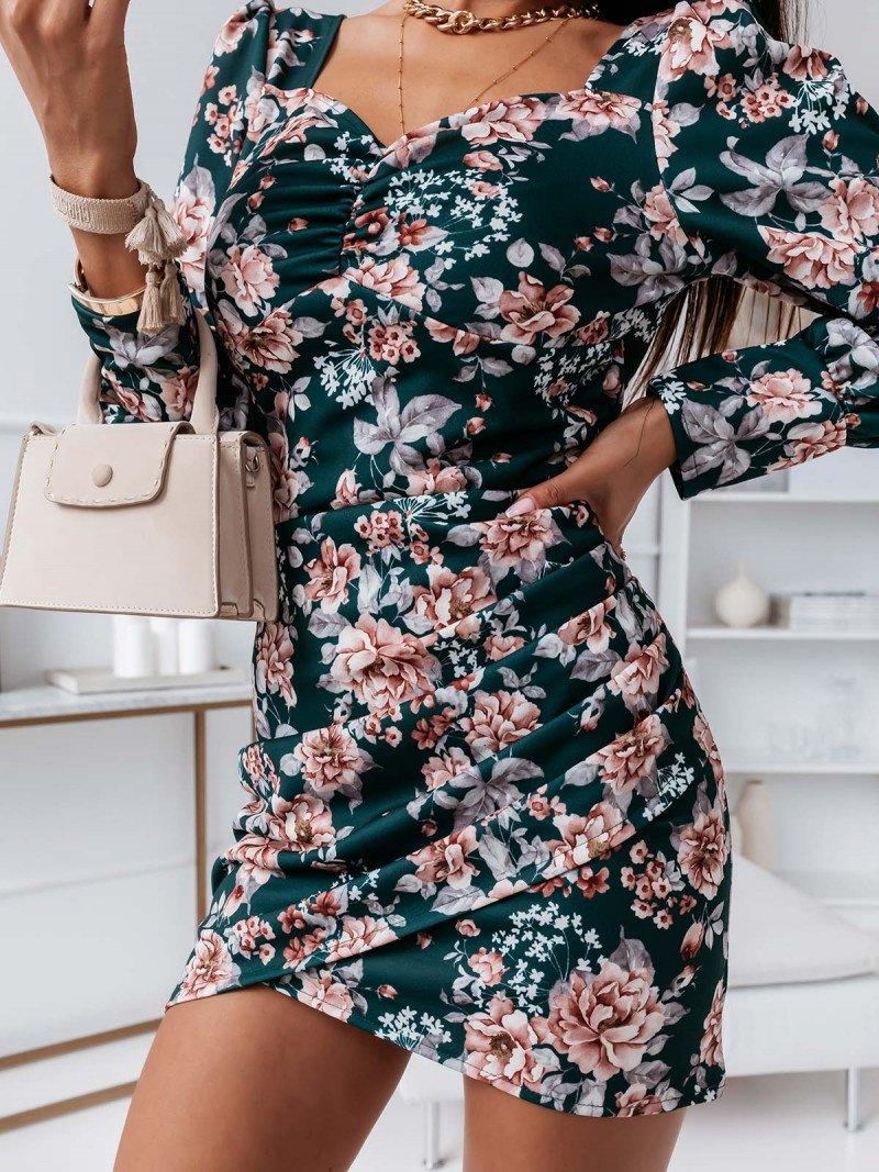 Sukienka print z bufkami KEDIRI -...