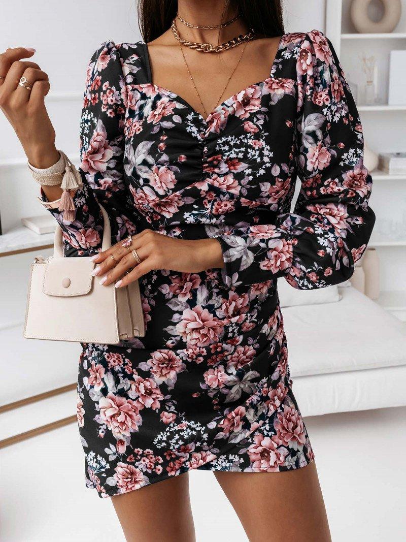 Sukienka print z bufkami KEDIRI - czarna