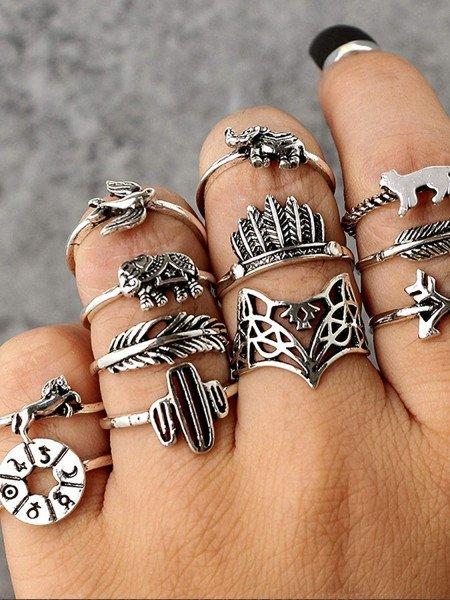 Zestaw 12 pierścionków srebrne