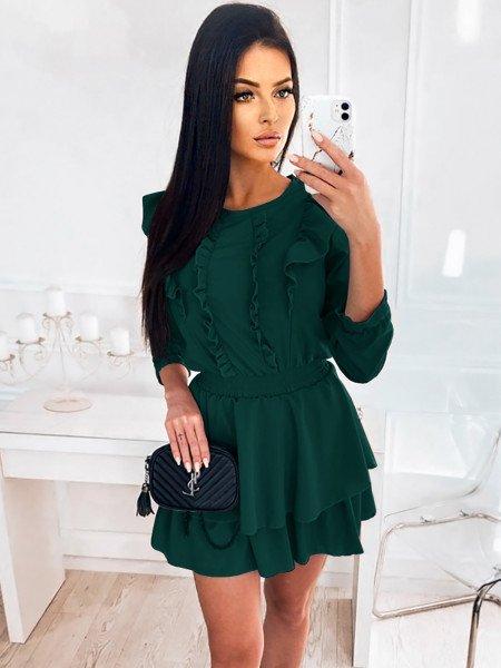 Sukienka z falbanami ALISHIA - butelkowa zieleń
