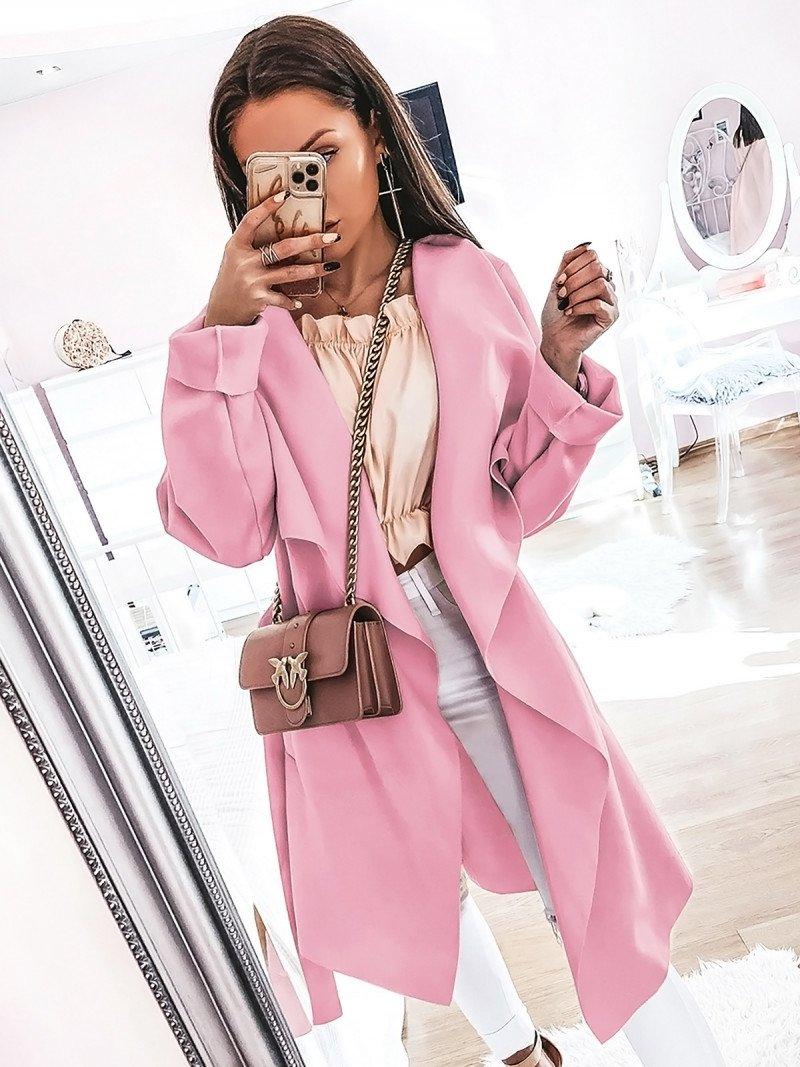 Flauszowy płaszcz CAMILLE - pudrowy róż
