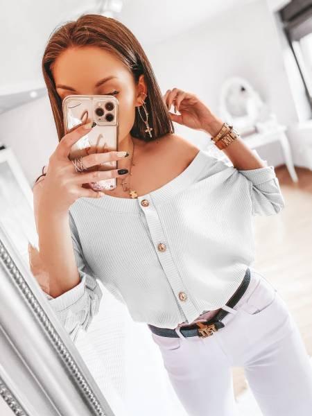 Prążkowana bluzka zapinana na guziki ELITE - biel