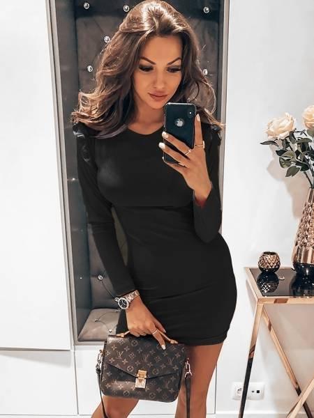 Prążkowana sukienka z mini falbanką REYNA - czerń