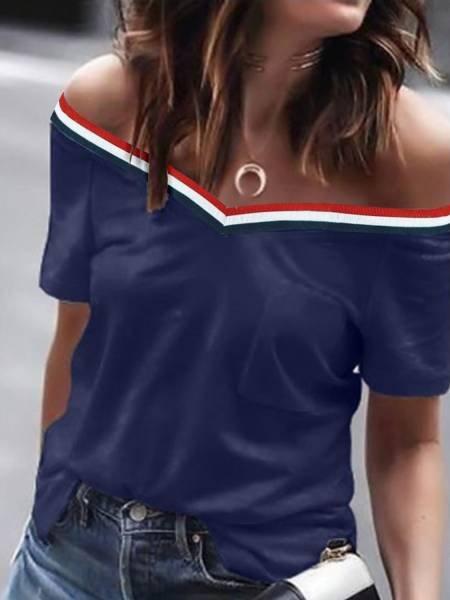 Bluzka t-shirt z odsłoniętymi ramionami NEL - granat