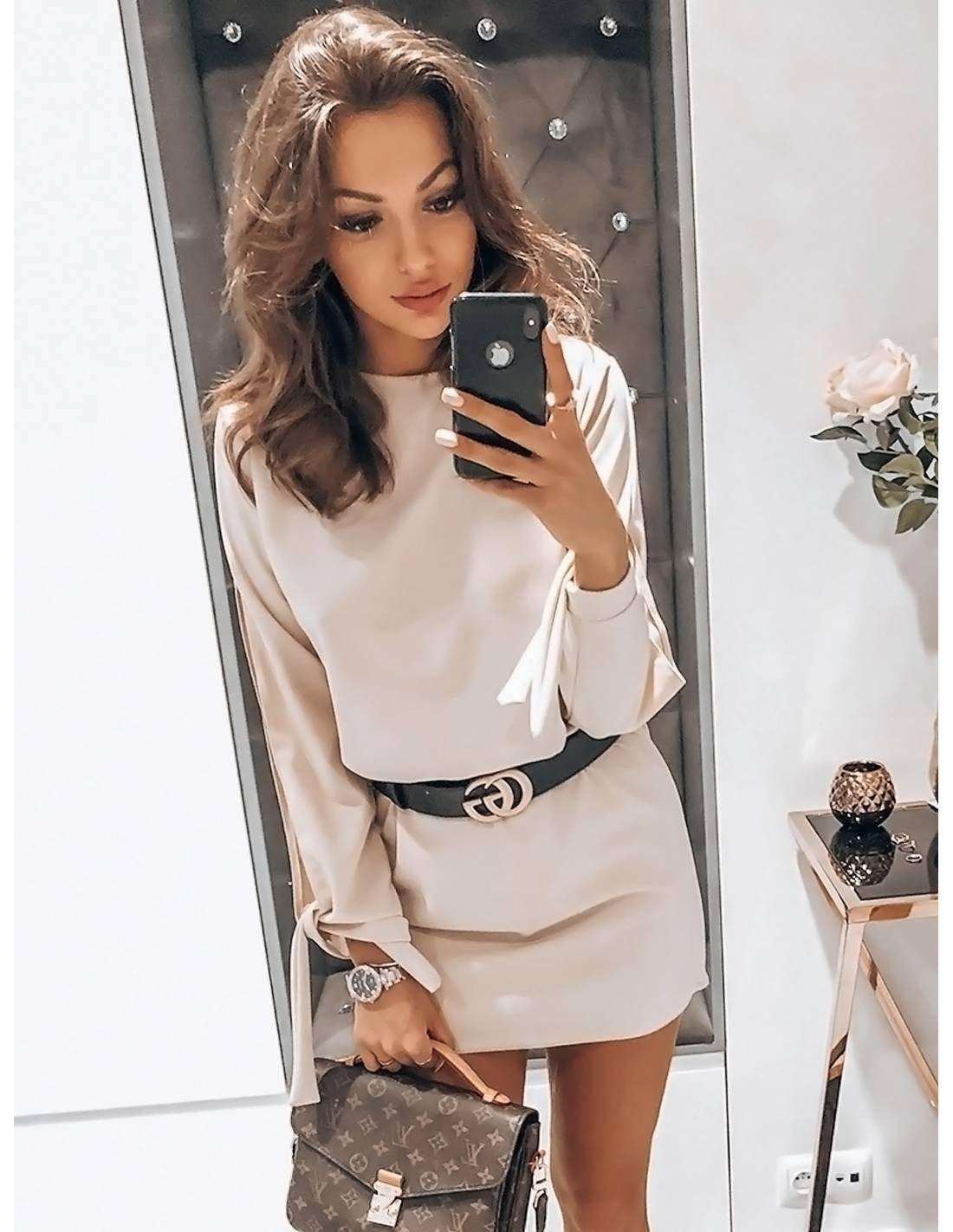 Sukienka mini z wiązaniem EVITA beż magmac.pl