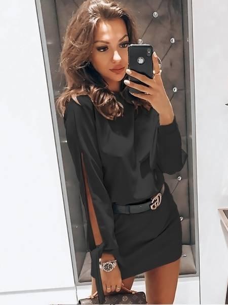 Sukienka mini z wiązaniem EVITA - czerń