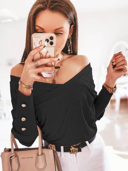 Prążkowana kopertowa bluzka CHICKY - czerń