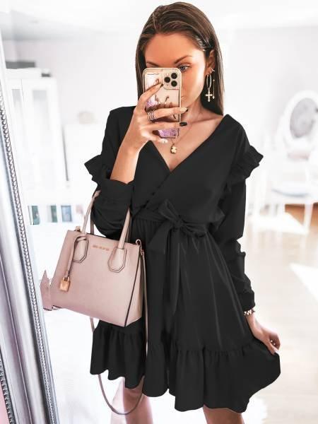 Rozkloszowana sukienka z falbankami NIMFA - czerń