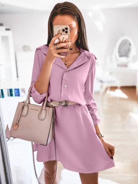 Sukienka mini szmizjerka VALENTIA - pudrowy róż