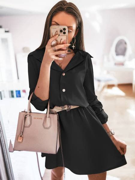 Sukienka mini szmizjerka VALENTIA - czerń