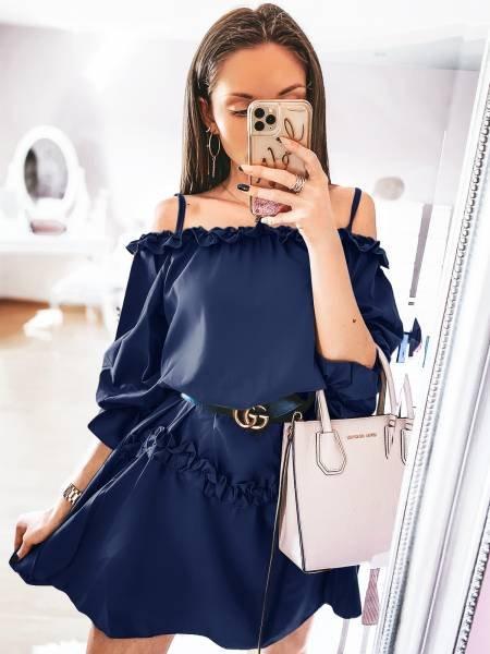 Mini sukienka z falbankami DORETTI - granat