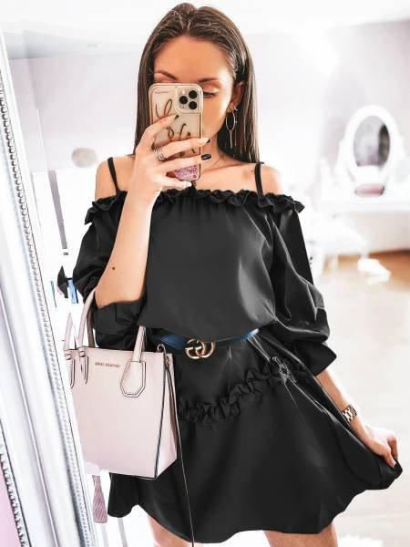 Mini sukienka z falbankami DORETTI - czerń
