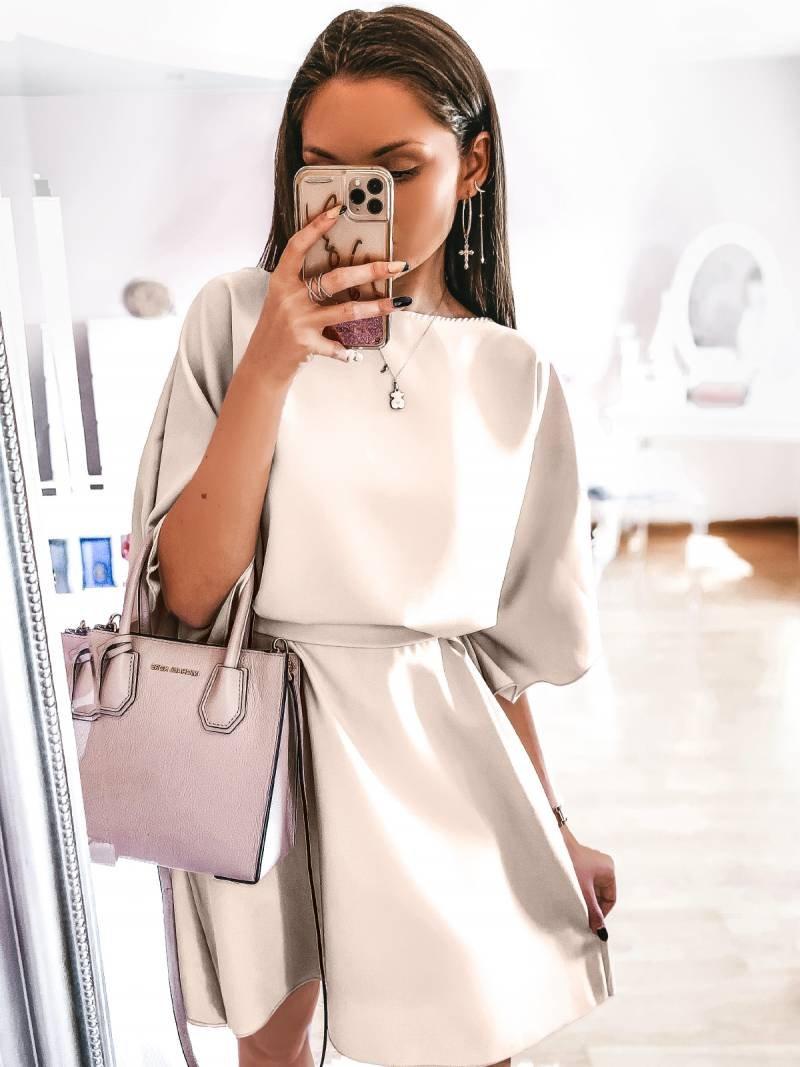Kobieca sukienka nietoperz NICOLE - beż
