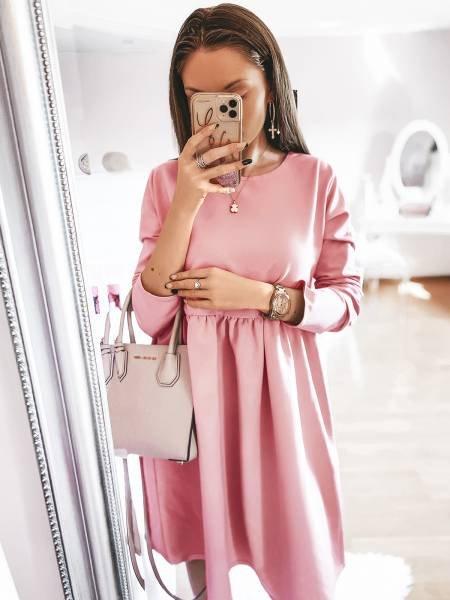 Rozkloszowana sukienka SIMPLE - pudrowy róż