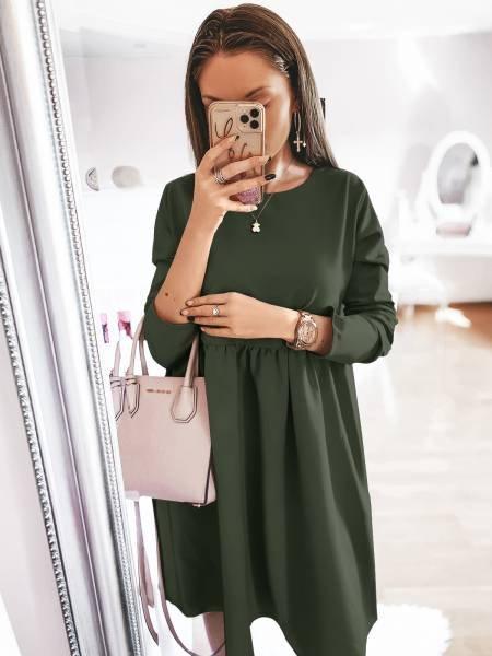 Rozkloszowana sukienka SIMPLE - khaki
