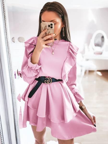 Sukienka z falbanami FERI- pudrowy róż