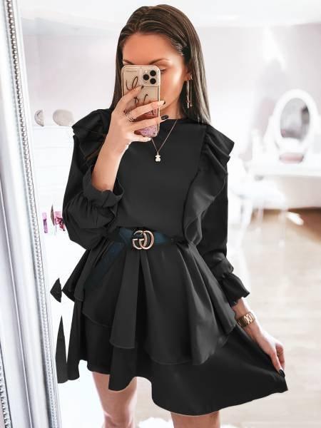 Sukienka z falbanami FERI- czerń