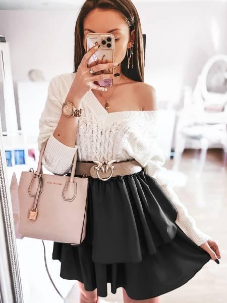 Kobieca mini spódnica z falbanką FRILL - czerń