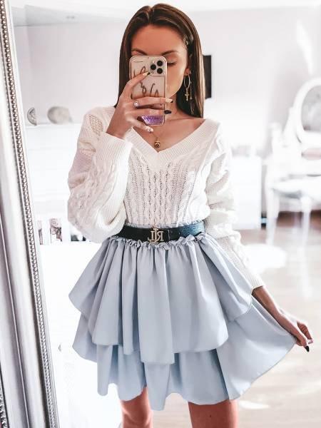 Kobieca mini spódnica z falbanką FRILL - popiel