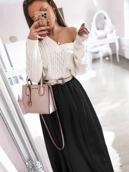 Długa szyfonowa spódnica CLOUD - czerń