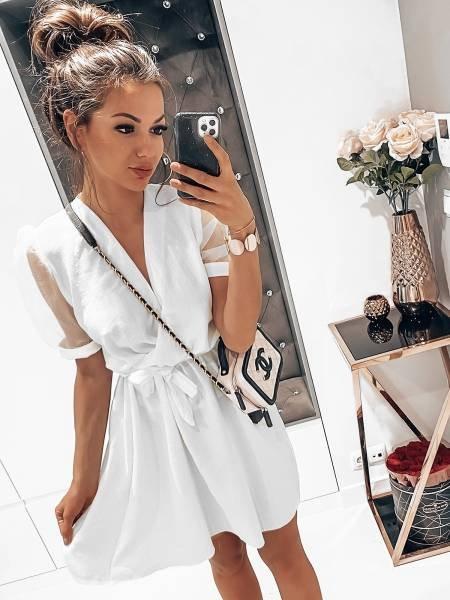 Sukienka z tiulowymi bufkami - POSH- biel
