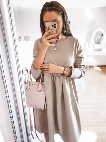 Rozkloszowana sukienka SIMPLE - latte