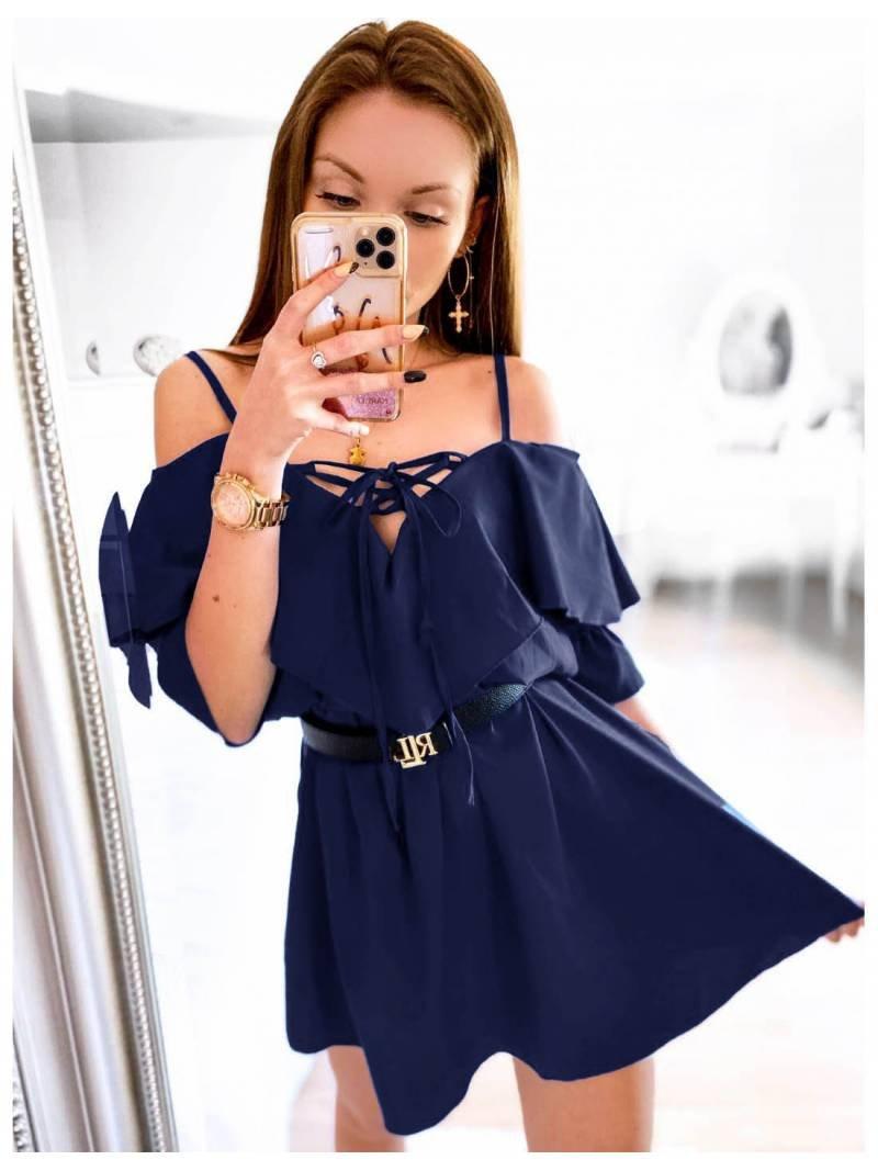 Kobieca sukienka na ramiączkach z falbanką MARITTA - granat