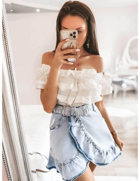Rozkloszowana mini spódnica jeans GIRLY, sklep magmac.pl
