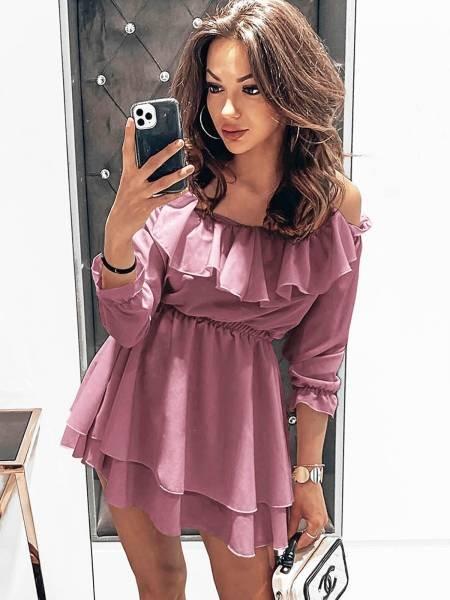 Rozkloszowana sukienka hiszpanka - FEMININE - brudny róż