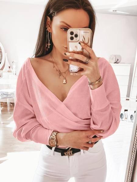 Prążkowana bluzka z dekoltem JOVITA - pudrowy róż