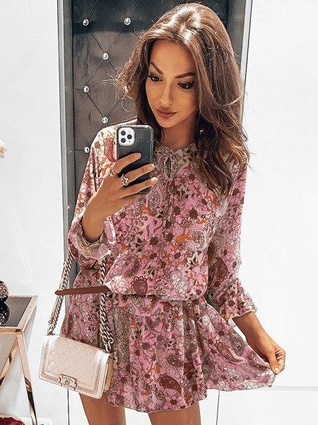 Trapezowa sukienka oversize - CINNAMON - wzór 1