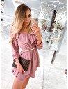 Rozkloszowana sukienka hiszpanka - UNIQUE - brudny róż