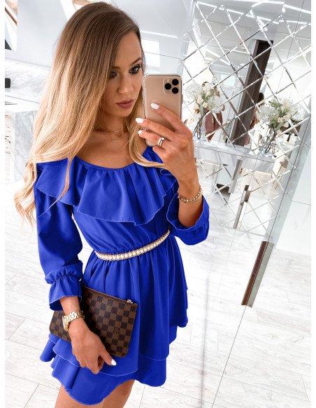 Rozkloszowana sukienka hiszpanka - UNIQUE - chaber