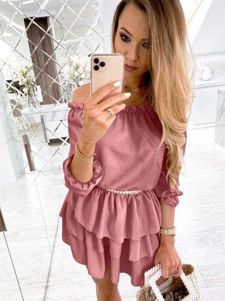 Rozkloszowana sukienka z falbanami FLAMENCO - brudny róż