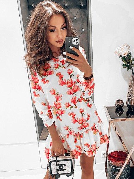 Trapezowa sukienka w print FLOWERS - wzór 2