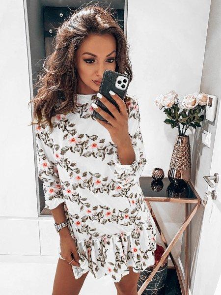 Trapezowa sukienka w print FLOWERS - wzór 3