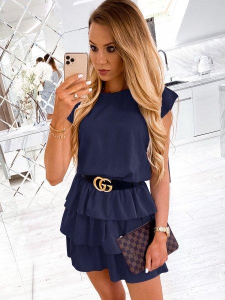 Mini sukienka z falbankami CLEO - granat