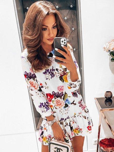 Trapezowa sukienka w print FLOWERS - wzór 4