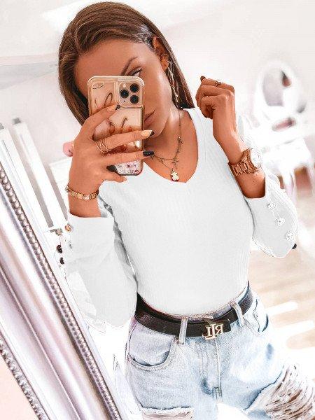 Dopasowana prążkowana bluzka ISSANA - biel