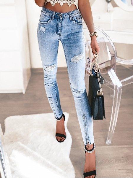 Spodnie jeansy rurki z zamkiem - WAIST