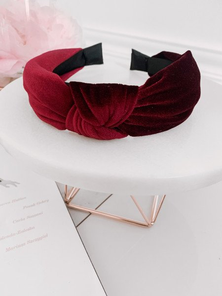 Satynowa opaska turban - bordo