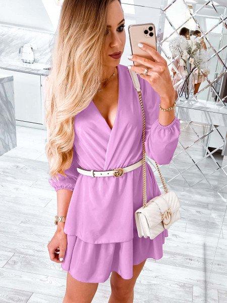 Rozkloszowana sukienka z podwójną falbaną PRETTY - lila