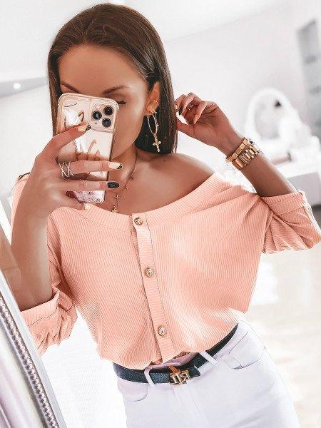 Prążkowana bluzka zapinana na guziki ELITE - brzoskwinia