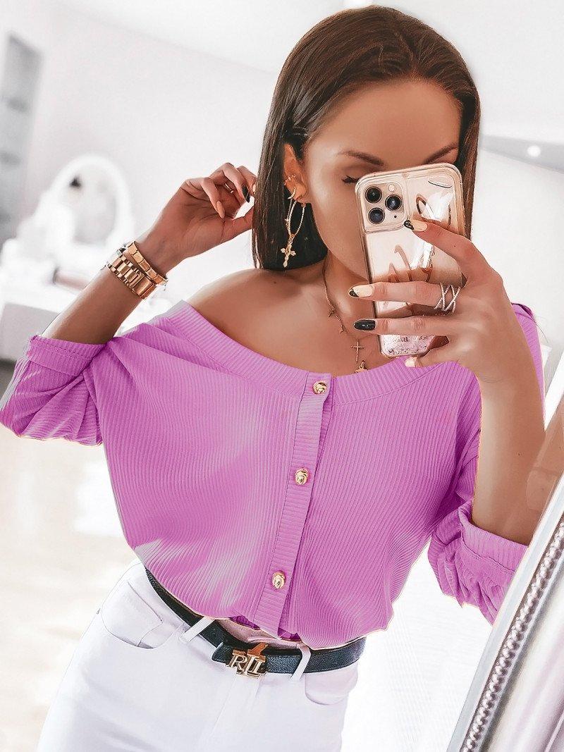 Prążkowana bluzka zapinana na guziki ELITE - lila