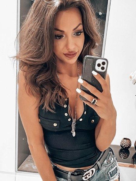 Prążkowana bluzka z guzikami LOLA - czerń