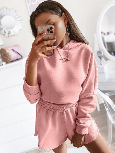 Komplet dresowy szorty + bluza LOS ANGELES - pudrowy róż