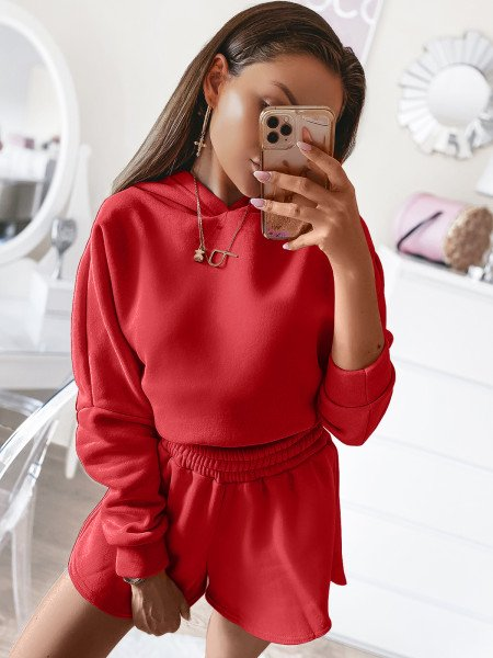 Komplet dresowy szorty + bluza LOS ANGELES - malina