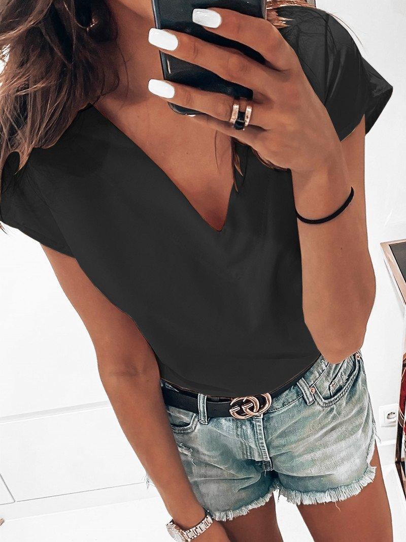Bluzka na krótki rękaw NORMA - czerń